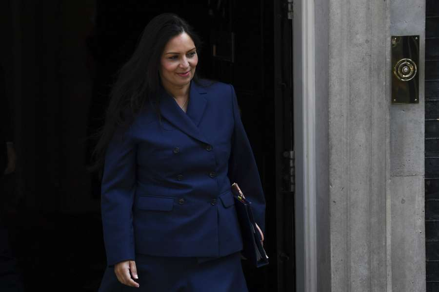 LONDON, July 25, 2019 (Xinhua) -- Britain's Home Secretary Priti Patel leaves 10 Downing Street after attending a cabinet meeting in London, Britain, on July 25, 2019. (Photo by Alberto Pezzali/Xinhua/IANS) by .
