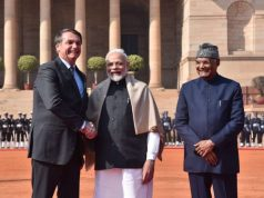 New Delhi: President Ram Nath Kovind and Prime Minister Narendra Modi with Brazilian President Jair Bolsonaro at a Ceremonial Reception accorded to him at Rashtrapati Bhavan in New Delhi on Jan 25, 2020. (Photo: IANS/MEA) by .