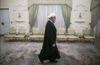 , Oct. 16, 2019 (Xinhua) -- Iranian President Hassan Rouhani arrives for his meeting with visiting South African Minister of International Relations and Cooperation Naledi Pandor at the Presidential Palace in Tehran, Iran, on Oct. 16, 2019. (Photo by Ahmad Halabisaz/Xinhua/IANS) by .