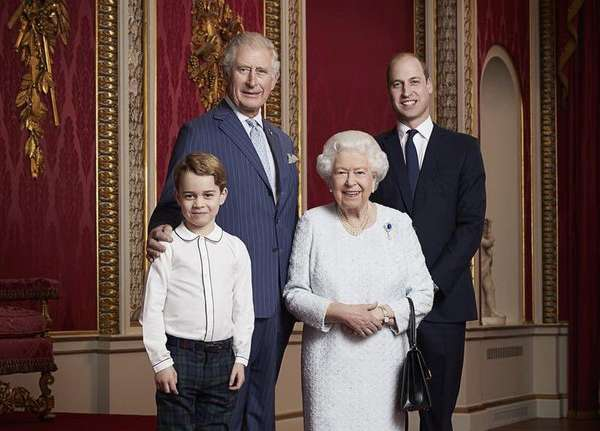 A portrait of the UK's Queen Elizabeth II with the next three heirs -- Prince Charles, Prince William, Prince George -- to the throne was released to mark the start of the new decade. by .
