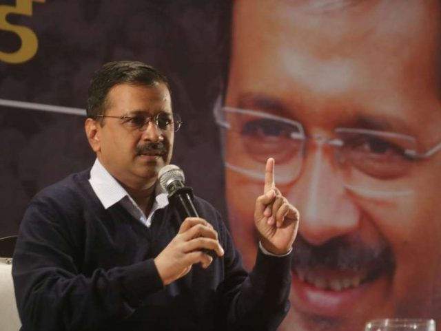 New Delhi: Delhi Chief Minister Arvind Kejriwal interacts during the first Town Hall Meeting to discuss 'AAP Ka Report Card' in New Delhi on Dec 26, 2019. (Photo: IANS) by .