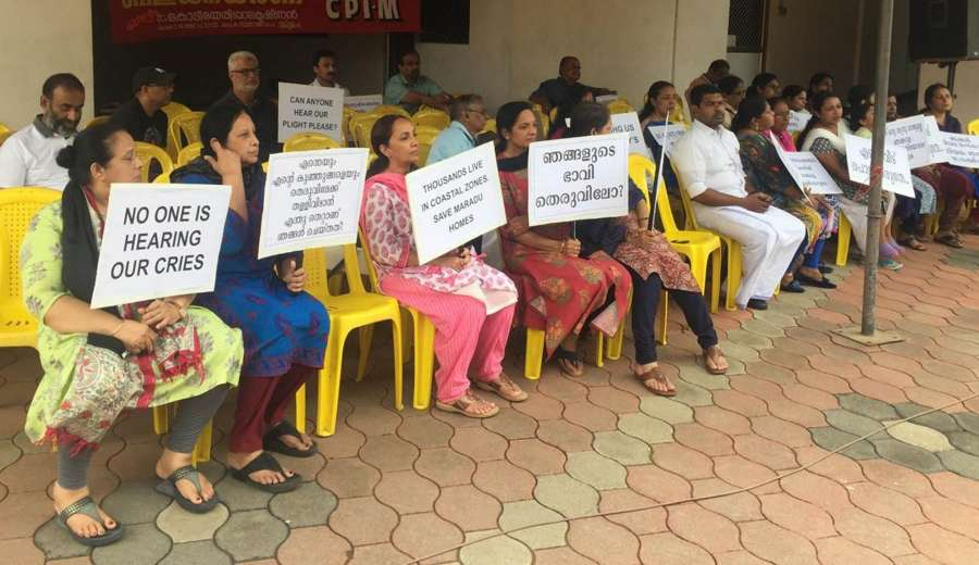 Maradu: Residents of the various flats, which have been ordered to be demolished by the Supreme Court stage a demonstration in front of Holy Faith apartment in Kerala's Maradu on Sep 15, 2019. (Photo: IANS) by .