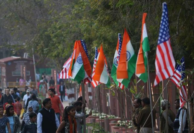 Agra: An Agra street decorated with Indian and American flags on the eve of US President Donald Trump's visit to the city of Taj, on Feb 23, 2020. (Photo: Bidesh Manna/IANS) by .