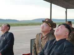North Korea: North Korean leader Kim Jong-un (R) watches the launch of the Hwasong-12 intermediate-range ballistic missile in this photo released by the North's official Korean Central News Agency on Sept. 16, 2017. (For Use Only in the Republic of Korea. No Redistribution) (Yonhap/IANS) by .