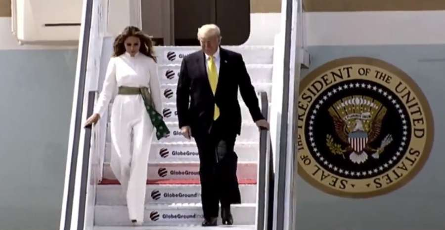 Ahmedabad: US President Donald Trump along with First Lady Melania Trump arrives at Sardar Vallabhbhai Patel International Airport in Ahmedabad on Feb 24, 2020. (Photo: Twitter/@DDNewslive) by .