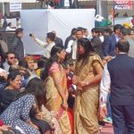 New Delhi: Delhi Chief Minister and AAP chief Arvind Kejriwal's wife Sunita Kejriwal at his swearing-in ceremony at Ramlila Maidan on Feb 16, 2020. (Photo: IANS) by .