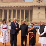 New Delhi: President Ram Nath Kovind, First Lady Savita Kovind and Prime Minister Narendra Modi receive US President Donald Trump and First Lady Melania Trump during a Ceremonial Reception accorded to them at the Rashtrapati Bhavan in New Delhi on Feb 25, 2020. (Photo: IANS/PIB) by .