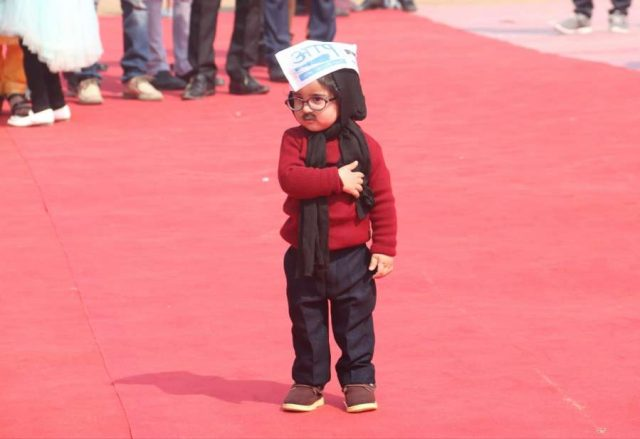 New Delhi: One-year-old baby mufflerman Avyaan Tomar at the swearing-in ceremony of AAP chief Arvind Kejriwal and his Cabinet at Ramlila Maidan on Feb 16, 2020. (Photo: IANS) by .