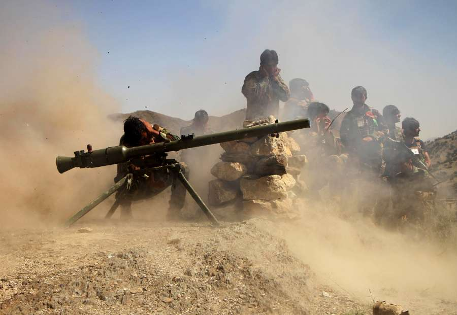 JALALABAD, Sept. 17, 2019 (Xinhua) -- Afghan security force members take part in a military operation against Islamic State (IS) in Achin district of eastern Nangarhar province, Afghanistan, Sept. 16, 2019. (Photo by Saifurahman Safi/Xinhua/IANS) by .