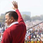 Kolkata: Delhi Chief Minister Arvind Kejriwal waves at the audience after taking oath at Ramlila Maidan on Feb 16, 2020. (Photo: IANS) by .