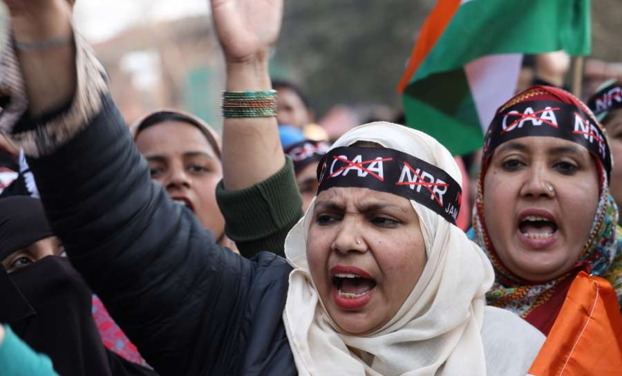 New Delhi: People participate in a protest march to Parliament led by Jamia Millia Islamia (JMI) University students against the Citizenship Amendment Act (CAA) and National Register of Citizen (NRC), in New Delhi on Feb 10, 2020. (Photo: IANS) by .