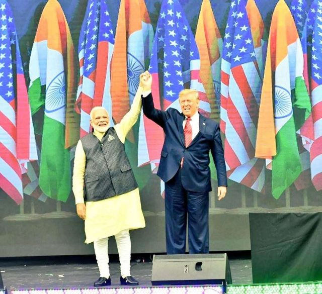 Houston: Prime Minister Narendra Modi and US President Donald Trump during the 'Howdy Modi' event at NRG Stadium in Houston, USA, on Sep 22, 2019. (Photo: IANS/MEA) by .