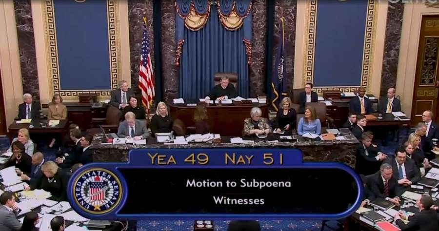 United States Supreme Court Chief Justice John Roberts announces the results of the vote on calling witnesses to the trial of President Donald Trump in the Senate on Friday, January 31, 2020. The motion to call witnesses proposed by Democrats was defeated 51-49. (Photo: Senate video) by .