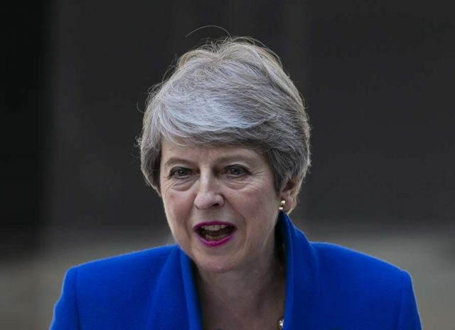 LONDON, July 24, 2019 (Xinhua) -- Theresa May gives a farewell speech outside 10 Downing Street in London, Britain, July 24, 2019. Newly-elected Conservative Party leader Boris Johnson took office as the British prime minister on Wednesday amid the rising uncertainties of Brexit. The latest development came after Theresa May formally stepped down as the leader of the country and Johnson was invited by the Queen to form the government. (Xinhua/Han Yan/IANS) by .