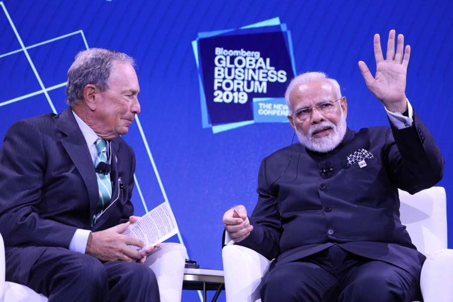 New York: Prime Minister Narendra Modi interacts with Bloomberg LP and Bloomberg Philanthropies Founder and former mayor of New York City, Michael R Bloomberg during the the third annual Bloomberg Global Business Forum (GBF) at The Plaza Hotel in New York on Sep 25, 2019. (Photo: Mohammed Jaffer/IANS) by .