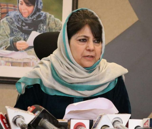 Srinagar: Former Jammu and Kashmir Chief Minister and People's Democratic Party (PDP) chief Mehbooba Mufti addresses a press conference in Srinagar, on Dec 31, 2018. (Photo: IANS) by .