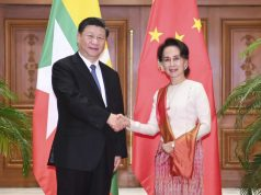 NAY PYI TAW, Jan. 18, 2020 (Xinhua) -- Chinese President Xi Jinping holds formal talks with Myanmar State Counsellor Aung San Suu Kyi in Nay Pyi Taw, Myanmar, Jan. 18, 2020. (Xinhua/Xie Huanchi/IANS) by .