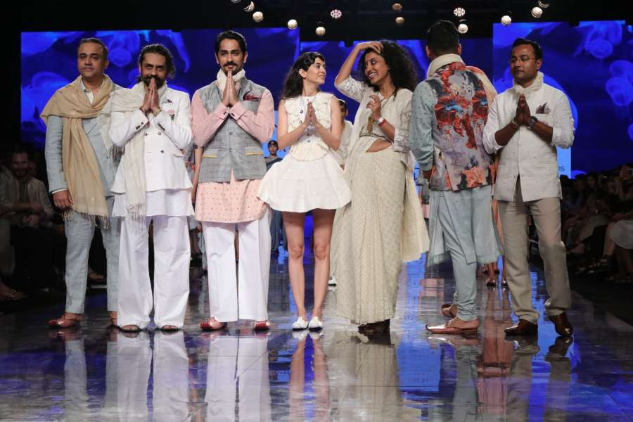 Mumbai: Actor Siddharth Suryanarayan with other models who walked the ramp for 'House Of Three X Tantajo', on Day 3 of the Lakme Fashion Week Summer/Resort 2020, in Mumbai on Feb 13, 2020. (Photo: IANS) by .