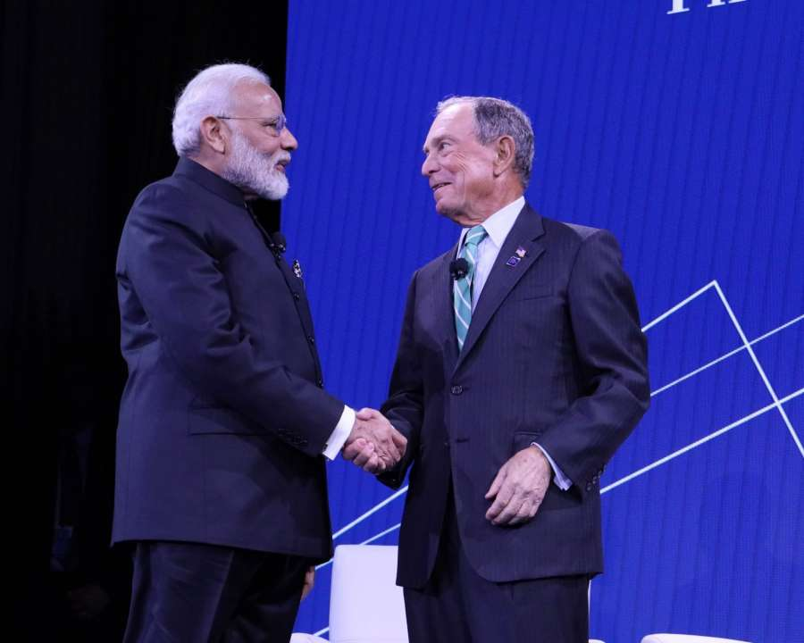 New York: Prime Minister Narendra Modi with Bloomberg LP and Bloomberg Philanthropies Founder and former mayor of New York City, Michael R Bloomberg during the the third annual Bloomberg Global Business Forum (GBF) at The Plaza Hotel in New York on Sep 25, 2019. (Photo: Mohammed Jaffer/IANS) by .