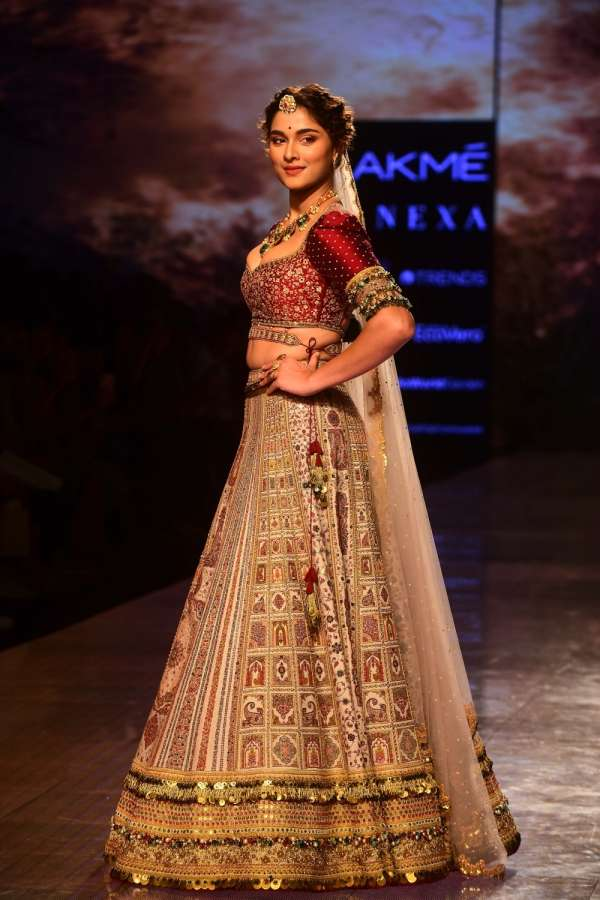 Mumbai: Actress Saiee Manjrekar showcases the creation of the label Jiviva by designers JigVijay & Varsha on Day 4 of the Lakme Fashion Week Summer/Resort 2020, in Mumbai on Feb 14, 2020. (Photo: IANS) by .