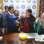 New Delhi: Delhi Chief Minister and Aam Aadmi Party (AAP) chief Arvind Kejriwal celebrates his wife Sunita Kejriwal's birthday amid counting of votes for the Delhi Assembly elections 2020, at the party's headquarters in New Delhi on Feb 11, 2020. (Photo: IANS) by .