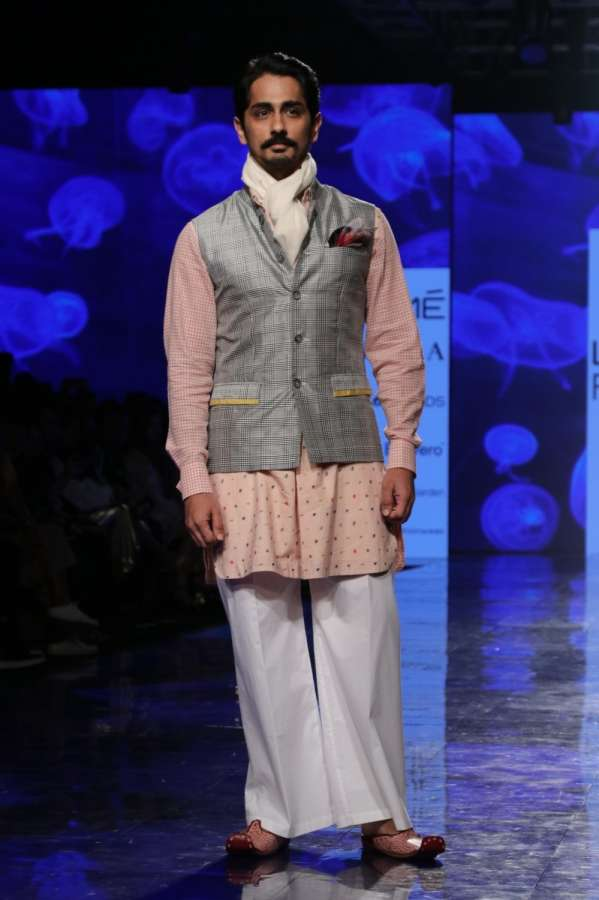 Mumbai: Actor Siddharth Suryanarayan walks the ramp for 'House Of Three X Tantajo' on Day 3 of the Lakme Fashion Week Summer/Resort 2020, in Mumbai on Feb 13, 2020. (Photo: IANS) by .