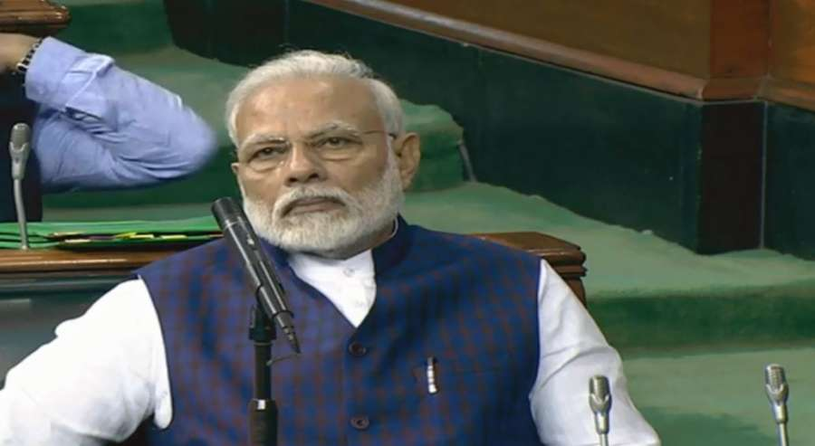 New Delhi: Prime Minister Narendra Modi during the presentation of the Union Budget 2020-21 by Union Finance and Corporate Affairs Minister Nirmala Sitharaman in the Parliament, in New Delhi on Feb 1, 2020. (Photo: IANS) by .