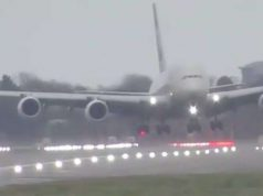 Passenger plane weighing 5,73,794 kg lands sideways in London. by .