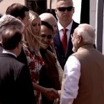 Ahmedabad: Prime Minister Narendra Modi greets US President Donald Trump's daughter Ivanka Trump on her arrival at the Sardar Vallabhbhai Patel International Airport in Ahmedabad on Feb 24, 2020. A red carpet welcome was given to Donald Trump and First Lady Melania Trump on Monday amid sounds of conch shells after their Air Force One landed at Ahmedabad Airport. (Photo: IANS/PIB) by .