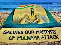 Puri: Sand artist Sudarsan Pattnaik pays tributes to the 40 CRPF soldiers who were martyred in a terror blast in Kashmir's Pulwama on this day a year ago, through his sand art at Puri beach in Odisha's Puri district on Feb 14, 2020. (Photo: IANS) by .