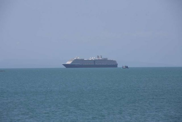 PHNOM PENH, Feb. 13, 2020 (Xinhua) -- The Westerdam cruise ship is seen at the Sihanoukville Autonomous Port (PAS) in Preah Sihanouk province, Cambodi, Feb. 13, 2020. A cruise ship, which had been turned away over fears of the disease caused by the novel coronavirus, docked at southwest Cambodia's sea port of Sihanoukville on Thursday, said the port chief. (Photo by Li Lay/Xinhua/IANS) by .