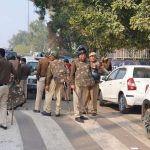 New Delhi: Police personnel deployed at northeast in New Delhi on Feb 25, 2020. (Photo: IANS) by .