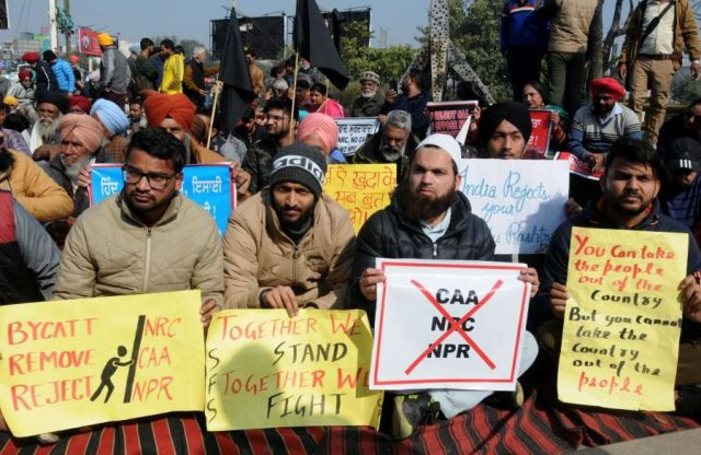 Amritsar: People stage a demonstration against the Citizenship Amendment Act (CAA) 2019, National Register of Citizens (NRC) and National Population Register (NPR), in Amritsar on Feb 2, 2020. (Photo: IANS) by .