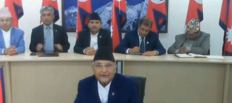 Kathmandu: Nepal Prime Minister KP Sharma Oli interacts with the leaders of SAARC nations on combating COVID-19 (Coronavirus) pandemic, via video conferencing in Kathmandu on March 15, 2020. (Photo: IANS/PIB) by .