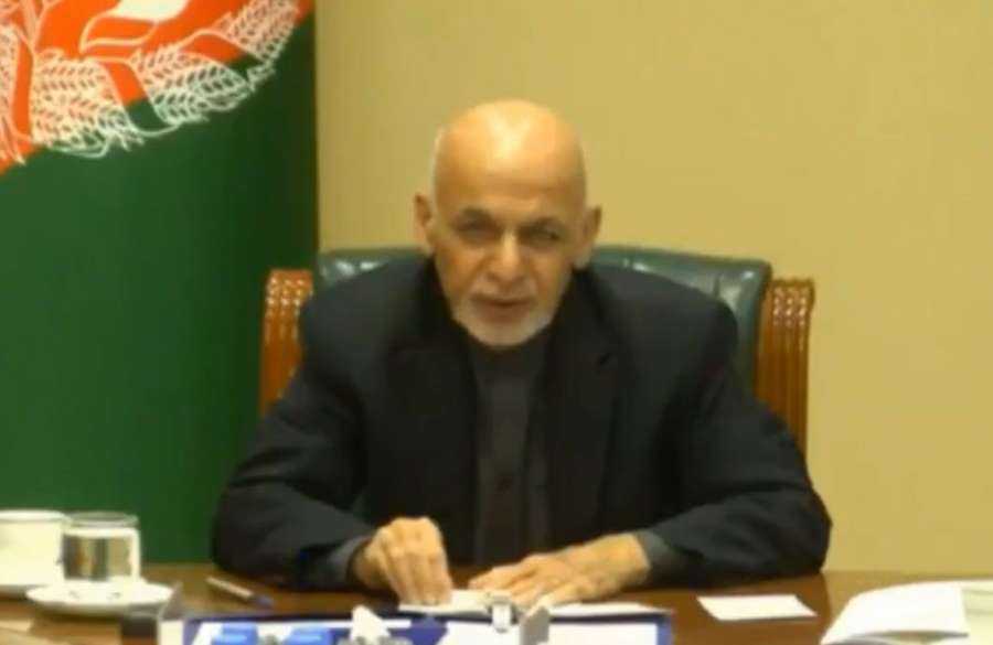 Kabul: Afghanistan President Ashraf Ghani interacts with the leaders of SAARC nations on combating COVID-19 (Coronavirus) pandemic, via video conferencing in Kabul on March 15, 2020. (Photo: IANS/PIB) by .
