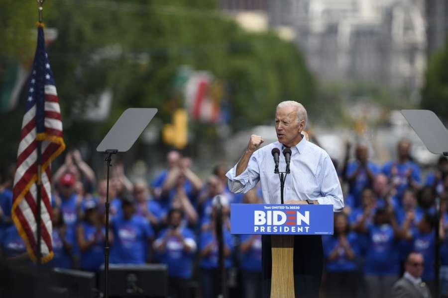 PHILADELPHIA, May 19, 2019 (Xinhua) -- Former U.S. Vice President Joe Biden speaks during a rally in Philadelphia May 18, 2019. Joe Biden on Saturday kicked off his running campaign for the 2020 presidential election in Philadelphia. (Xinhua/Liu Jie/IANS) by .