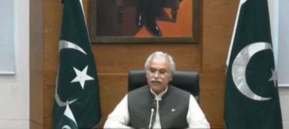 Islamabad: Pakistan Heath Minister Zafar Mirza interacts with the leaders of SAARC nations on combating COVID-19 (Coronavirus) pandemic, via video conferencing in Islamabad on March 15, 2020. (Photo: IANS/PIB) by .