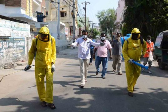 Hyderabad: Disinfectants being sprayed across different areas of Hyderabad on Day 4 of the lockdown imposed in the wake of the coronavirus pandemic, on March 28, 2020. (Photo IANS) by .