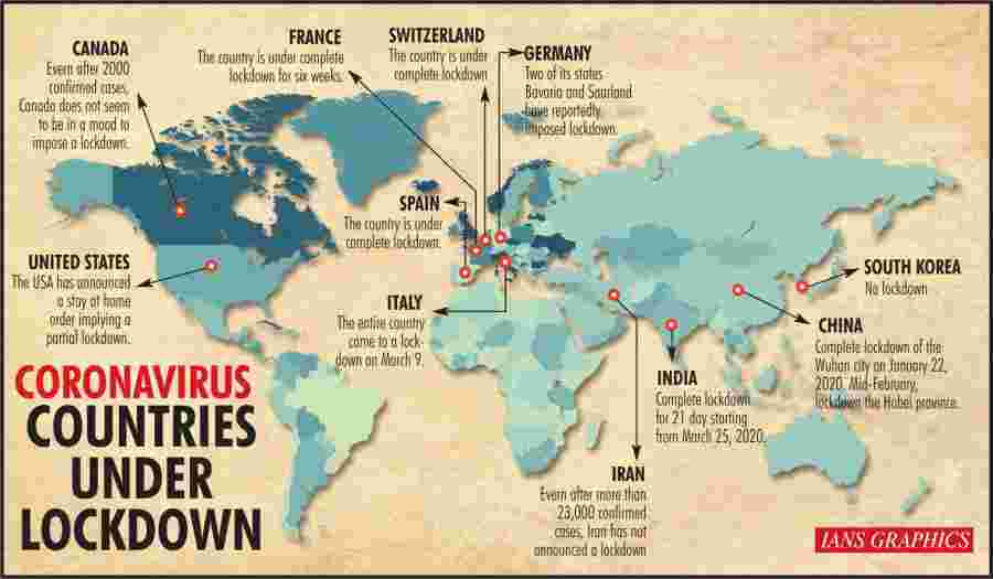 Coronavirus: Countries under lockdown. (IANS Infographics) by .