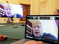 Boris Johnson chairs the morning Covid-19 Meeting by .