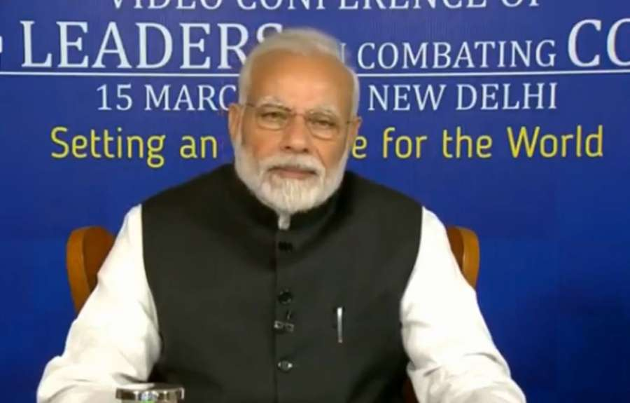 New Delhi: Prime Minister Narendra Modi interacts with the leaders of SAARC nations on combating COVID-19 (Coronavirus) pandemic, via video conferencing in New Delhi on March 15, 2020. (Photo: IANS/PIB) by .