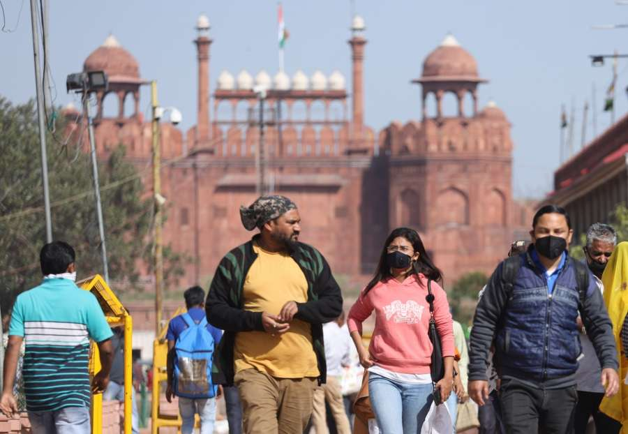 New Delhi: People seen wearing masks as a precautionary measure against COVID-19 outside the Red Fort which has been closed on Government orders as a measure to contain coronavirus, in New Delhi on March 17, 2020. (Photo: IANS) by .