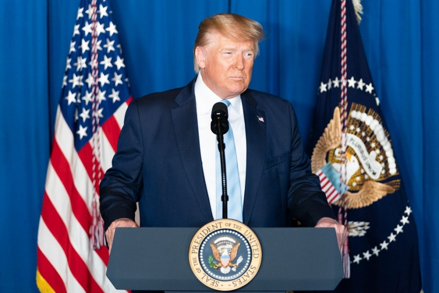 United States President Donald Trump speaks at a news conference on Friday, January 3, 2020, at Mar-a-Lago resort in Palm Beach, Florida, about the killing of Iranian Major General Qassim Soleimani. (Photo: White House/IANS) by .