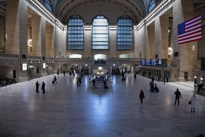 "New York's Grand Central Station is almost empty on Tuesday, March 24, 2020, after the city was put under ""Stay-at-Home"" orders. The city has become the epicentre of Covid-19 pandemic. (Photo: UN/IANS) by ."