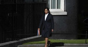 LONDON, July 24, 2019 (Xinhua) -- Britain's Newly-appointed Home Secretary Priti Patel arrives at 10 Downing Street, in London, Britain, on July 24, 2019. Britain's new Prime Minister Boris Johnson named the first of his new front bench ministers on Wednesday night. (Photo by Alberto Pezzali/Xinhua/IANS) by .