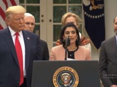 Seema Verma, who as the administrator of the Centers for Medicare and Medicaid Services heads the two government medical insurance programmes for senior citizens and for the poor, speaks at the White House news conference with President Donald, at left, Trump, who declared a state of national emergency in Washington on Friday, March 13, 2020. Health and Human Services Secretary Alex Azar is at right. (Photo: White House/IANS) by .