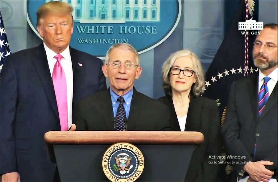 US President Donald Trump, from left, Anthony Fauci, director of the National Institute of Allergy and Infectious Diseases; Anne Schuchat, Principal Deputy Director of the Centres for Disease Control, and Human Services Secretary Alex Azar at a White House news conference on Wednesday, Feb. 26, 2020, to discuss the threat of coronavirus. (Photo: White House) by .