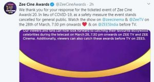 Zee Cine Awards 2020 will now only be shot as a televised show and it has been cancelled for the general public to avoid mass gatherings following the coronavirus outbreak. by .