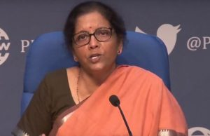 New Delhi: Union Finance ad Corporate Affairs Minister Nirmala Sitharaman addresses a press conference in New Delhi, on March 26, 2020. (Photo: IANS) by .