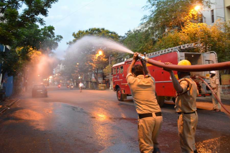 Bengaluru: Disifectants being sprayed across the city during complete lockdown imposed in 560 districts in 32 states and union territories across the country as precautionary measures to contain the spread of the coronavirus, in Bengaluru on March 24, 2020. (Photo: IANS) by .